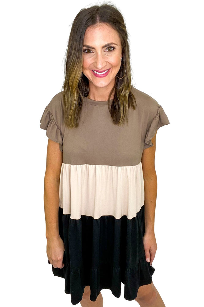 Load image into Gallery viewer, Neutral Color Block Babydoll Dress w/ Ruffle Sleeves *FINAL SALE*