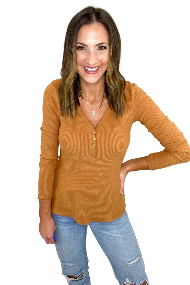 Tan Ribbed Long Sleeve Henley Top *FINAL SALE*