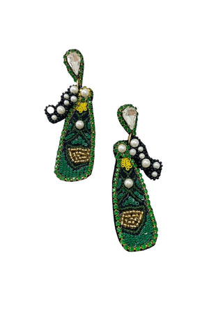 Beaded Champagne Bottle Earrings