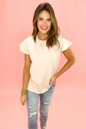 oatmeal distressed flutter sleeve top, distressed denim, affordable trends, shop style your senses by mallory fitzsimmons