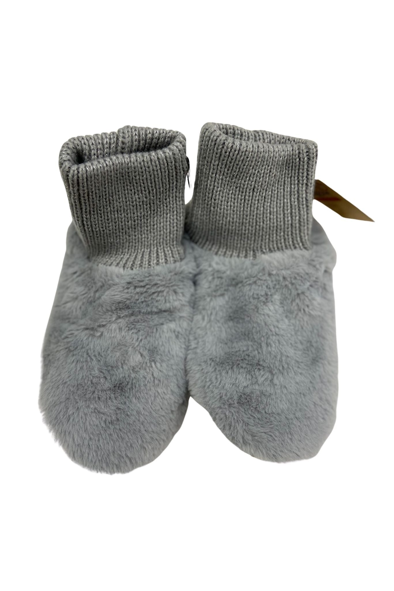 Grey Plush Faux Fur Bootie Socks