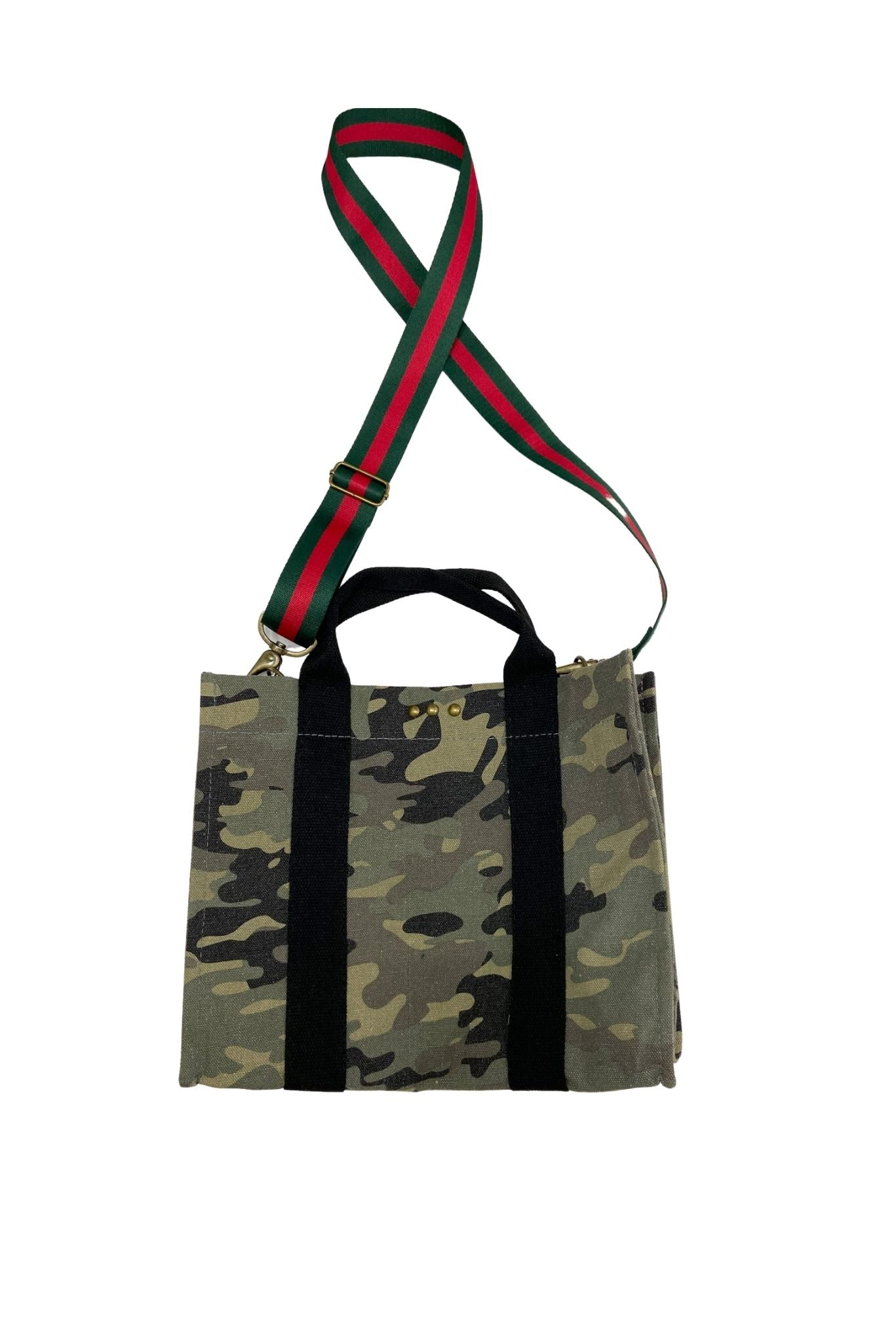 Camo with Red and Green Striped Removable Strap Tote