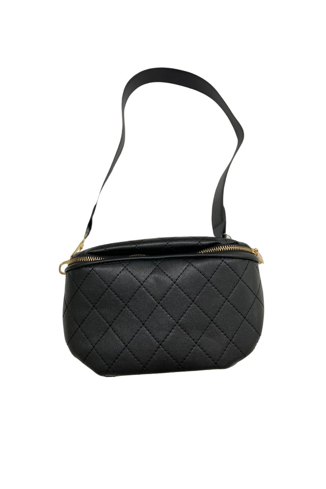 Black Quilted Crossbody Bag w/ Chain