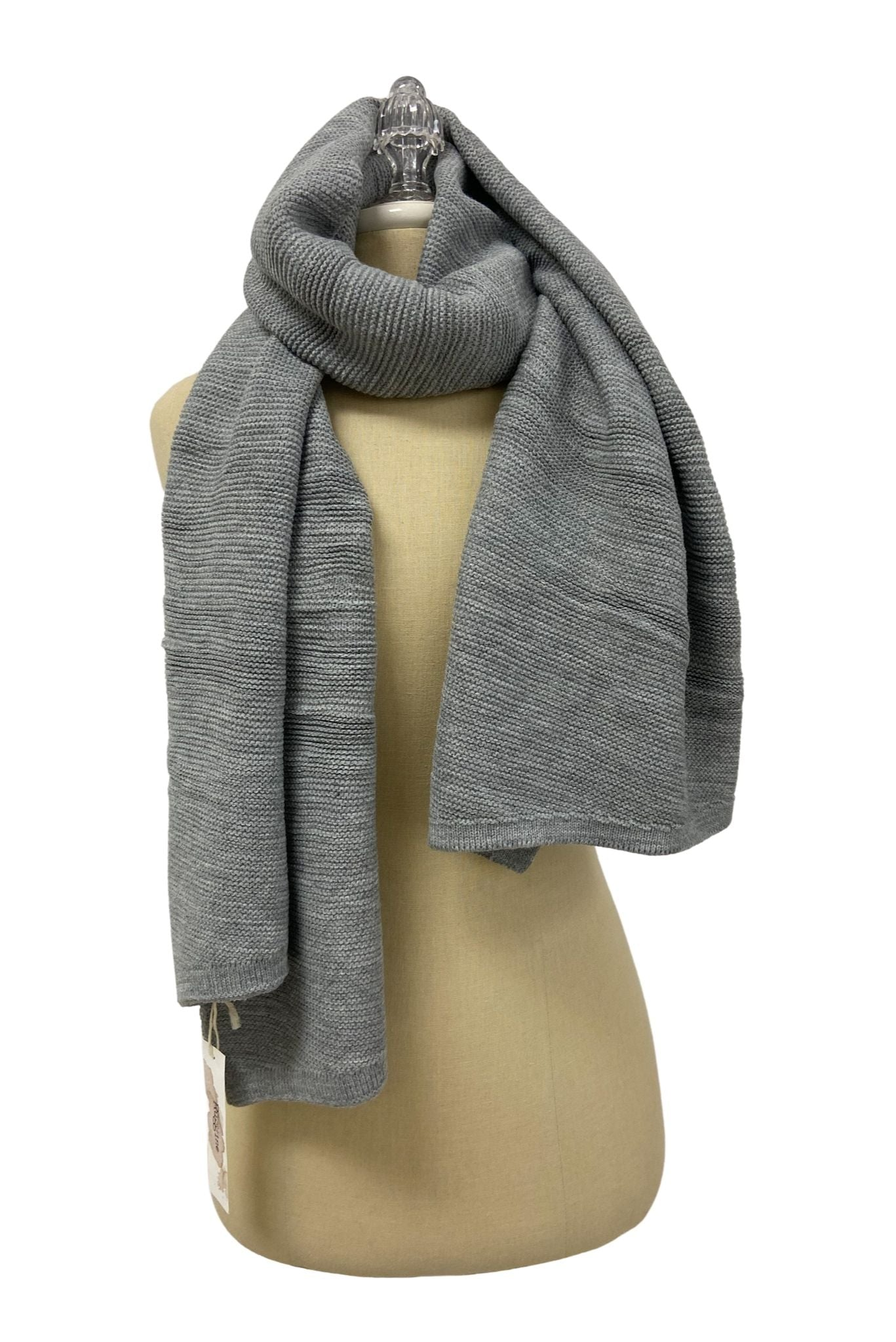 Grey Soft Knit Scarf
