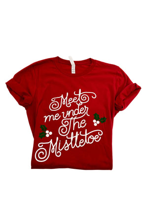 "Red ""Meet Me Under the Mistletoe"" Graphic Tee"