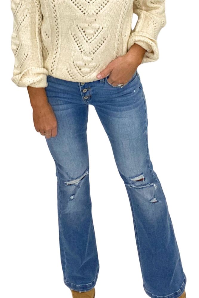 Distressed Medium Washed Mid Rise Flare Jeans