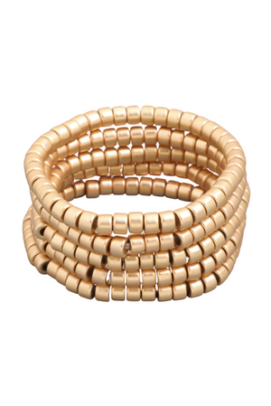 Matte Gold Bead Stackable Bracelet Set