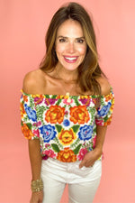 bright floral off the shoulder top, white skinny jeans, spring tops, beach attire, shop style your senses by mallory fitzsimmons