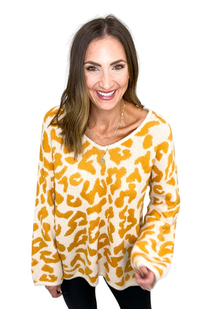 Taupe and Gold Animal Print Oversized Sweater *FINAL SALE*