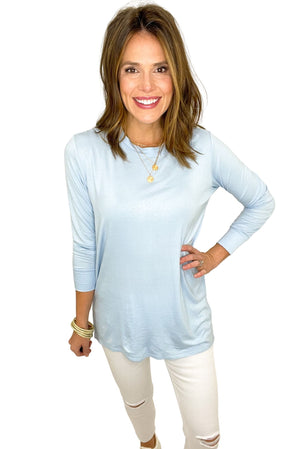 baby blue side slit tunic, white skinny jeans, spring tops, shop style your senses by mallory fitzsimmons