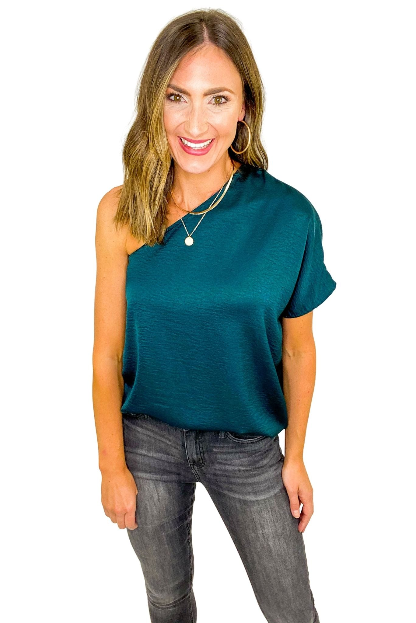 Hunter Green One Shoulder Textured Top