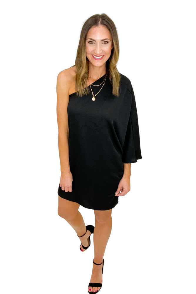 Load image into Gallery viewer, Black One Shoulder Dress *FINAL SALE*