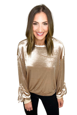 Load image into Gallery viewer, Beige Velvet Sweatshirt with Ruched Sleeves *FINAL SALE*