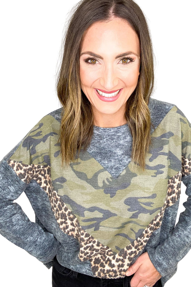 Grey Long Sleeve Top w/ Chevron Camo and Animal Print