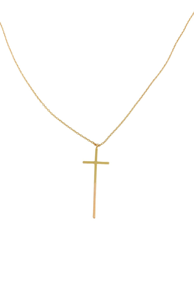 Gold Large Cross Charm Necklace