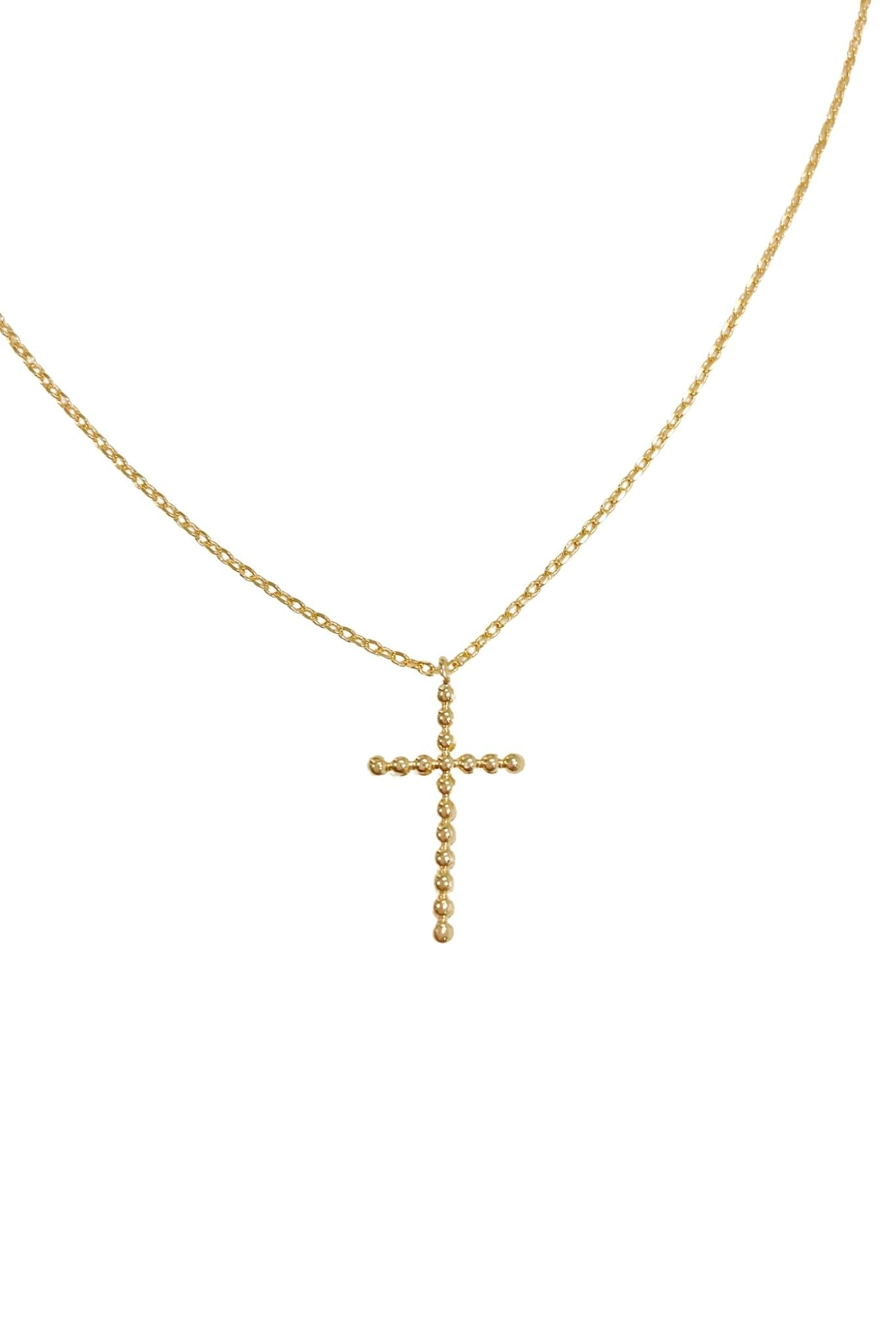 Gold Beaded Cross Charm Necklace