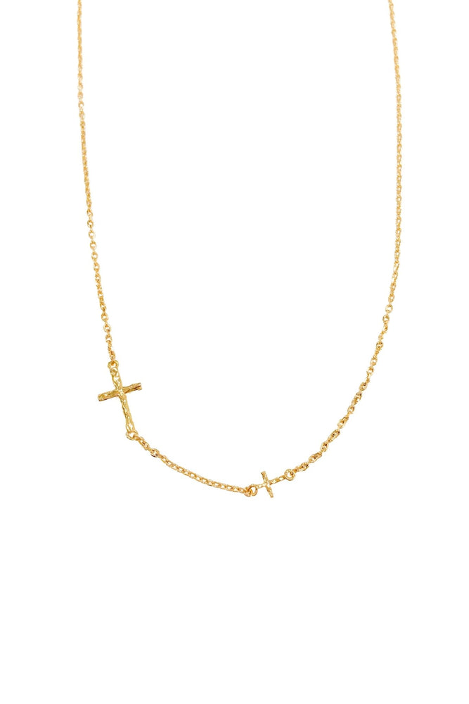 Load image into Gallery viewer, Gold Sideways Cross Necklace