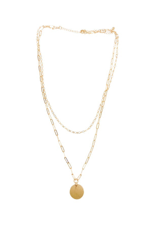 Gold Double Layer Necklace w/ Circle Charm