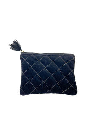 Black Velvet Quilted Handbag with Gold Stitching *FINAL SALE*