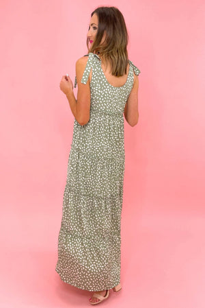 sage spotted tiered maxi dress with tie straps, easter collection, spring dresses, shops style your senses by mallory fitzsimmons