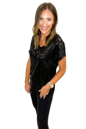 Load image into Gallery viewer, Black Drop Shoulder Short Sleeve Sequin Top *FINAL SALE*