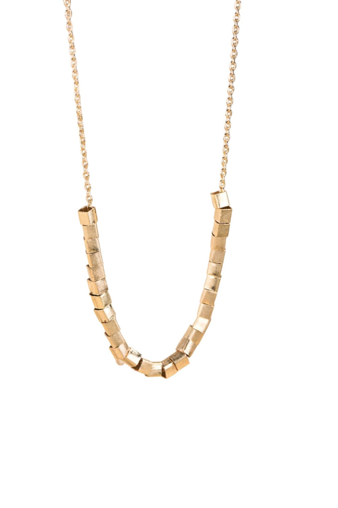 Gold Cube Bead Necklace