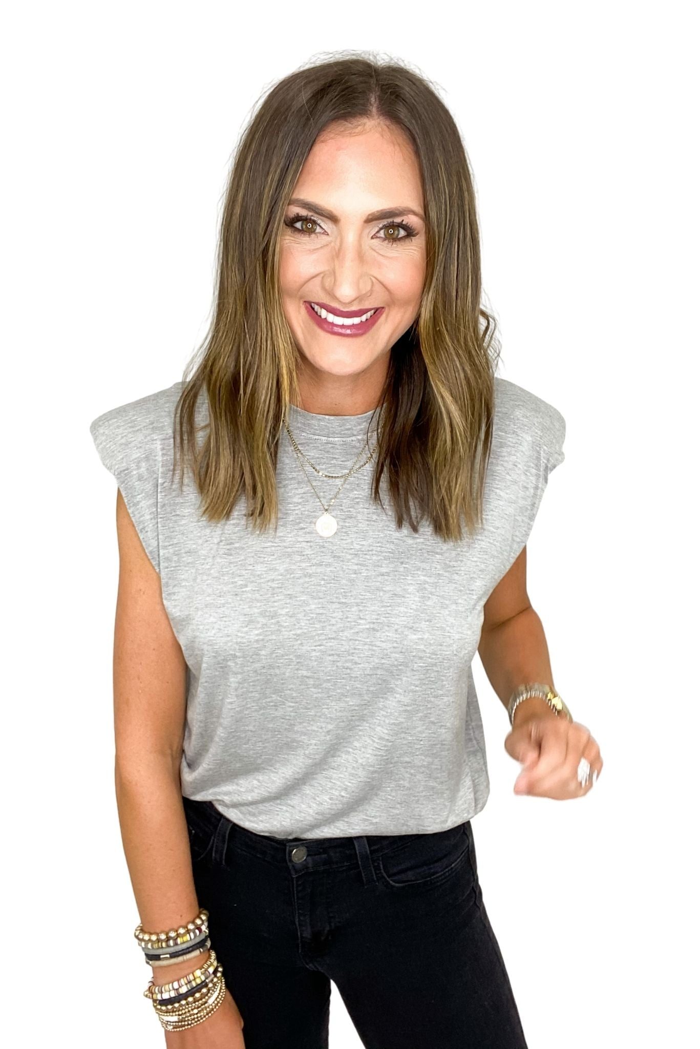 Heather Gray Shoulder Pad Sleeveless Top