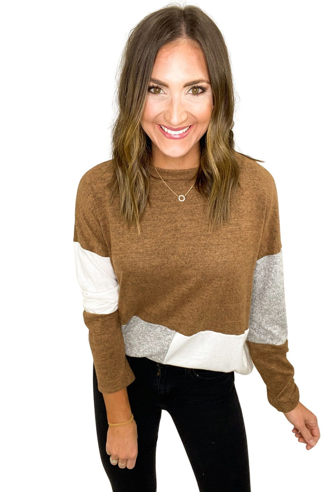 Light Neutral Color Block Mock Neck Top