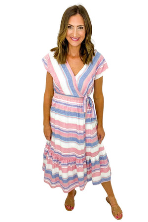 Blue and Pink Wrap Midi Dress *FINAL SALE*