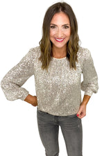 Silver Sequin Balloon Sleeve Top