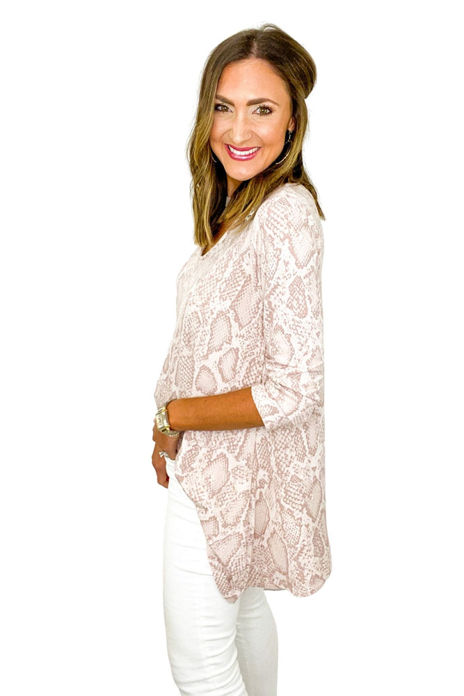 Pink Scale Print Tunic w/ Keyhole V Neck *FINAL SALE*