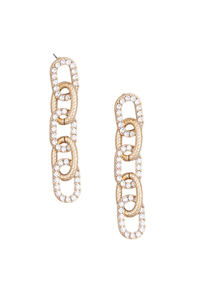 Gold Rhinestone Chain Link Dangle Drop Earrings