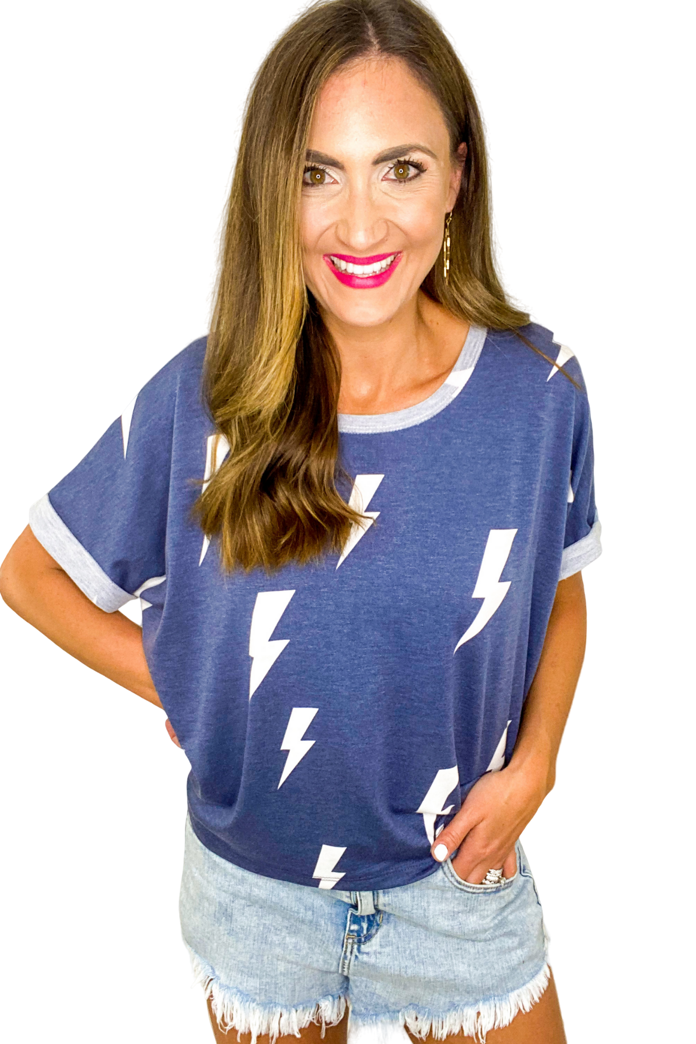 Blue Lightning Bolt Top *FINAL SALE*