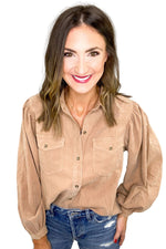 Taupe Puff Sleeve Button Down Top