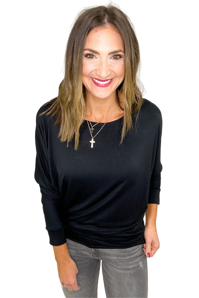 Black Boat Neck Dolman Top