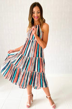 multi color stripe hi low halter dress, spring dresses, beach attire, shop style your senses by mallory fitzsimmons