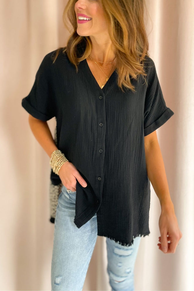 black muslin button down top, distressed jeans, spring tops, affordable style, shop style your senses by mallory fitzsimmons