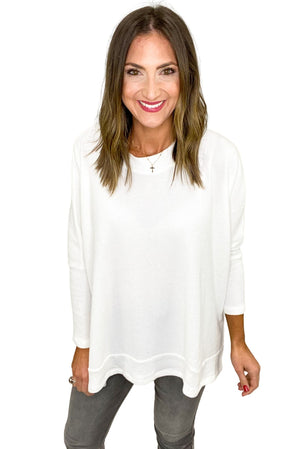 White Oversized Hi Low Thermal Top