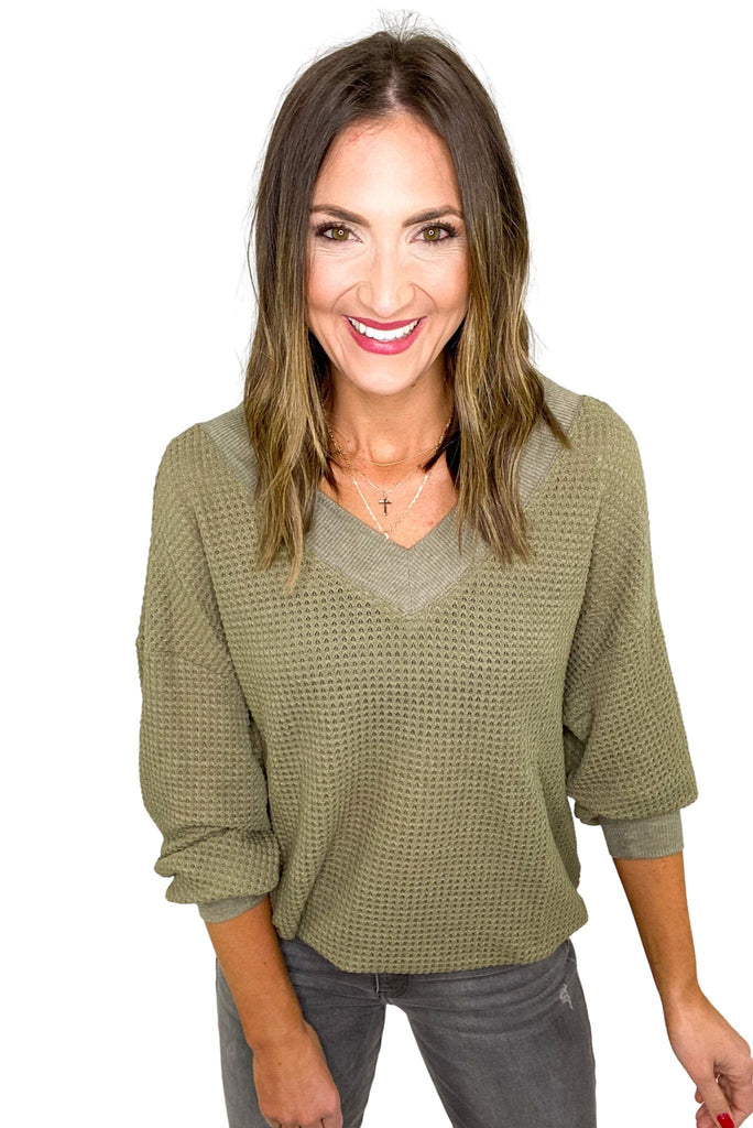 Olive V Neck Waffle Knit Long Sleeve Top