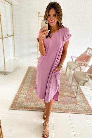 lavender ribbed midi dress, spring dresses, tulip hem, shop style your senses by mallory fitzsimmons