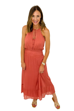 Coral Smocked Waist Halter Dress *FINAL SALE*