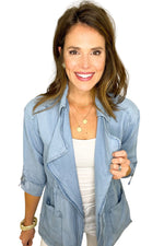 chambray open front jacket with lapel, white skinny jeans, spring tops, shop style your senses by mallory fitzsimmons
