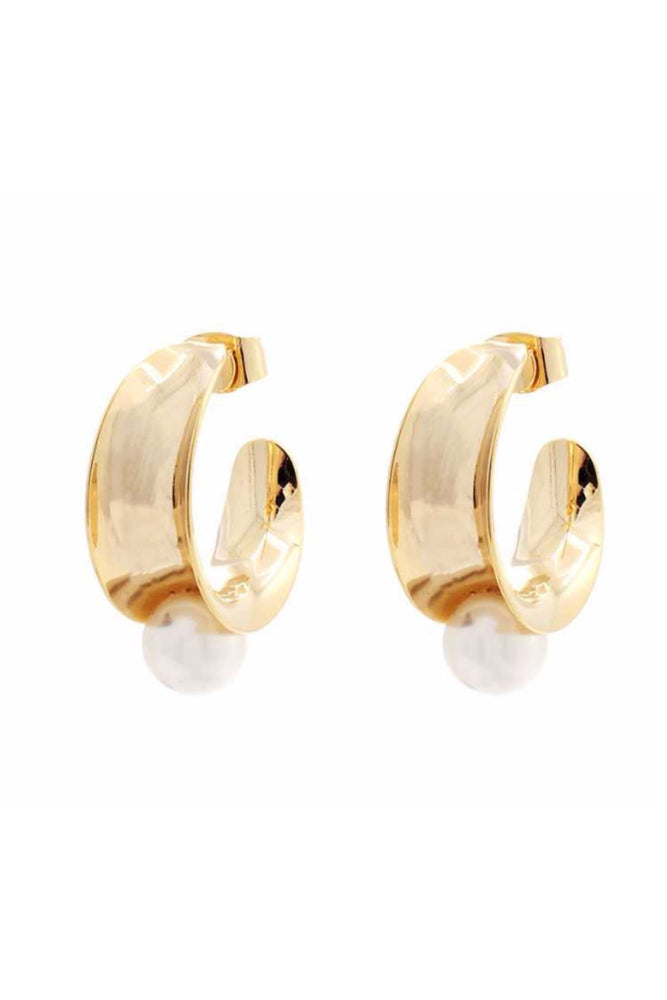 gold open hoop earrings with pearl, affordable accessories, trendy jewelry, shop style your senses by mallory fitzsimmons