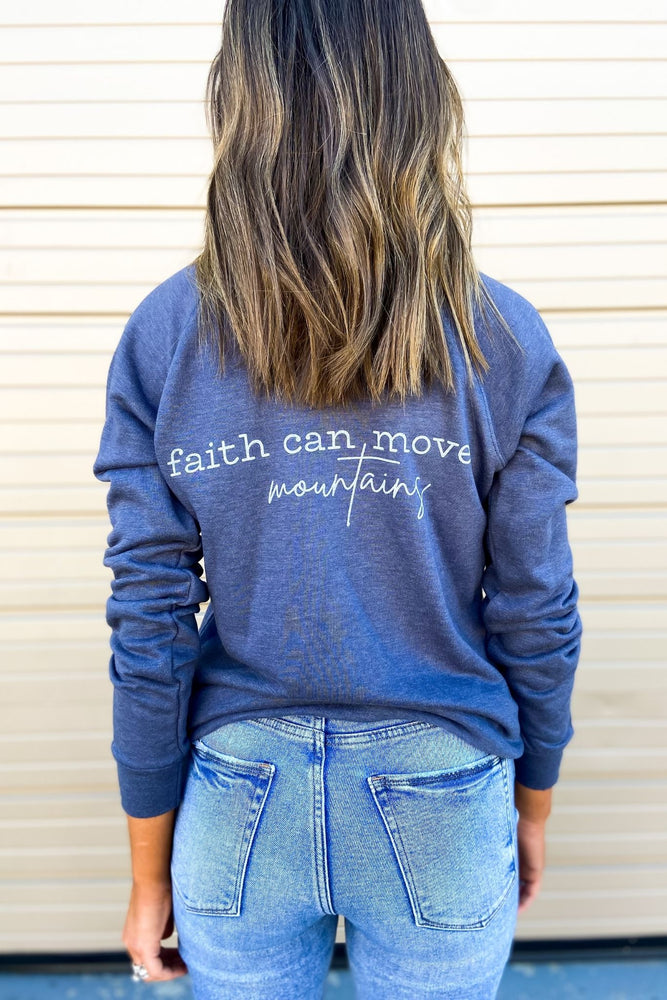 Load image into Gallery viewer, Matthew 17:20 Scripture Sweatshirt Denim
