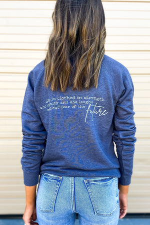 Load image into Gallery viewer, Proverbs 31: 25 Scripture Sweatshirt Denim