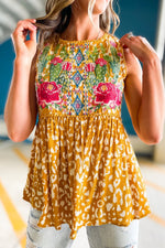 mustard animal print embroidered top, spring tops, affordable style, shop style your senses by mallory fitzsimmons