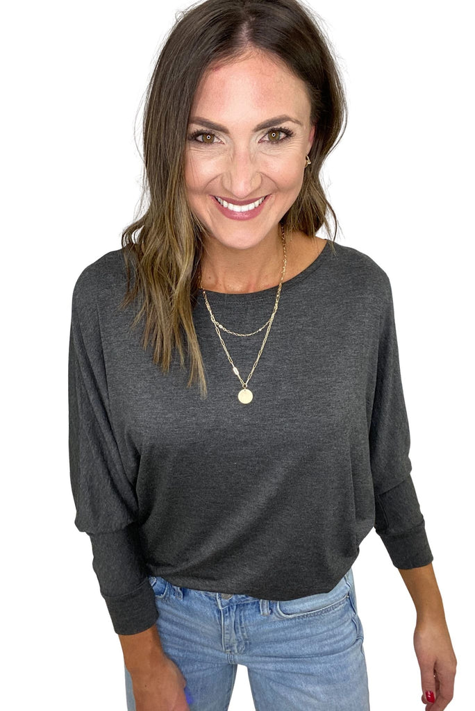 Charcoal Boat Neck Dolman Top