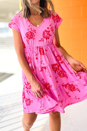 pink floral tiered short sleeve dress, spring dresses, summer style, shop style your senses by mallory fitzsimmons
