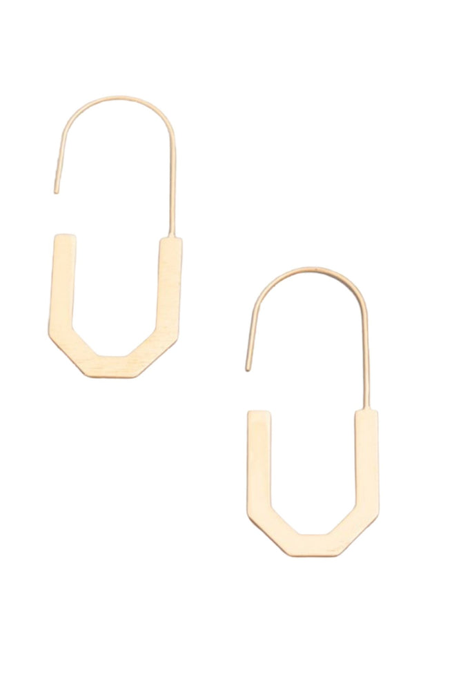 Gold Geometric Flat Hoop Earrings