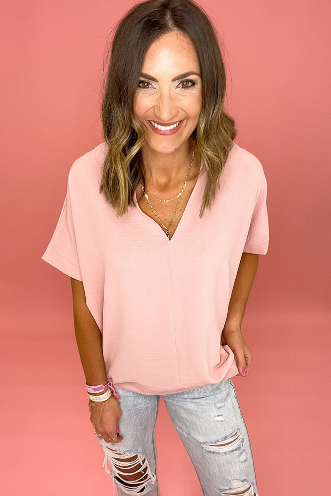 blush v neck boxy top, distressed jeans, spring tops, shop style your senses by mallory fitzsimmons